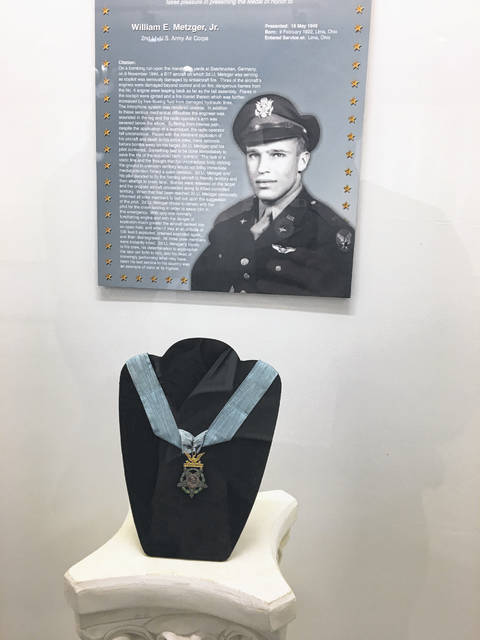 William Metzger, of Lima, received the Medal of Honor posthumously for a bombing mission during World War II. The plane Metzger was co-piloting sustained heavy damage. With but one working engine, the mission was accomplished. Metzger was killed when the plane crash landed.