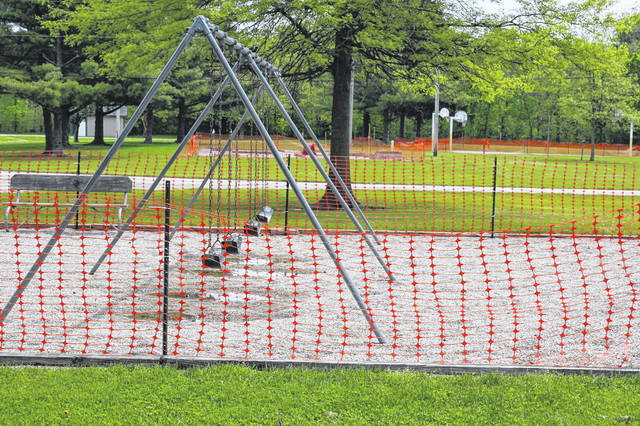 Playground equipment, miniature golf and the basketball court was off limits to campers at Grand Lake St. Marys due to the COVID-19 pandemic.