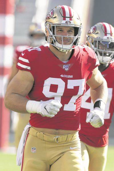 The San Francisco 49ers' Nick Bosa was the the AP Defensive Rookie of the Year last season.