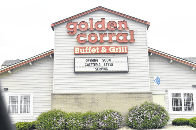 The Golden Corral restaurant in Lima will open its doors to sit-down dining Thursday, offering cafeteria-style service to patrons instead of self-service.