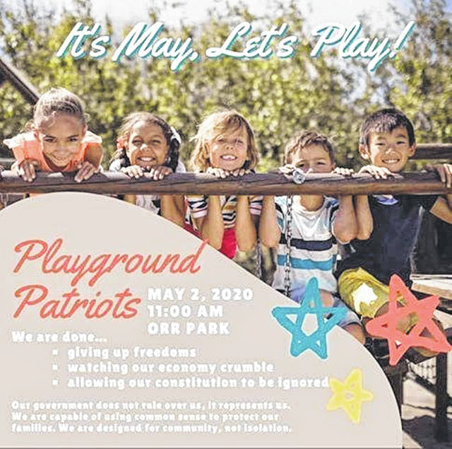 """A flier tells why the """"Playground Patriots"""" protested at an Orrville park and allowed their children to use the equipment that was closed to prevent the spread of the coronavirus."""