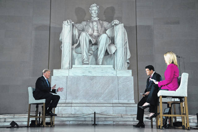 President Donald Trump speaks during a Fox News virtual town hall from the Lincoln Memorial on Sunday.