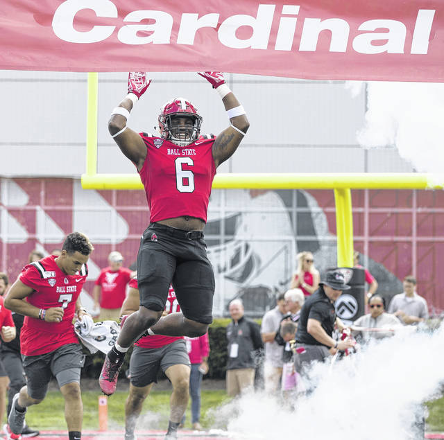 Lima Senior graduate Jaylin Thomas takes the field for Ball State before a game against Fordham last season.