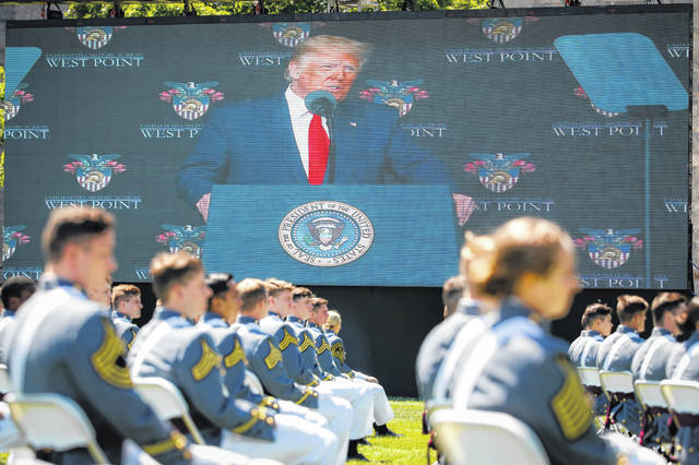 President Donald Trump speaks to United States Military Academy graduating cadets during commencement ceremonies Saturdayin West Point, N.Y. Trump's commencement speech to the 1,100 graduating cadets during a global pandemic comes as arguments rage over his threat to use American troops on U.S. soil to quell protests stemming from the killing of George Floyd by a Minneapolis police officer.