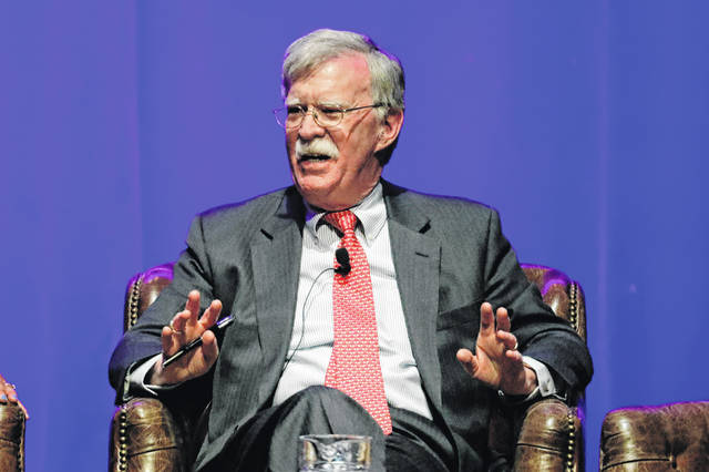 Former national security adviser John Bolton takes part in a discussion on global leadership at Vanderbilt University in Nashville, Tenn., in Feburary. An attorney for Bolton said Wednesday that President Donald Trump is trying to put on ice publication of the former top administration official's forthcoming memoir after White House lawyers again this week raised concerns that the book contains classified material that presents a national security threat.