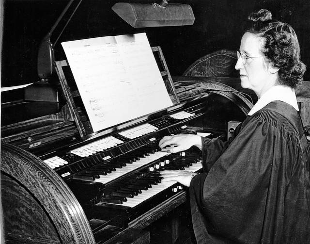 Nell Kriete at the organ, photographed in about 1949. She was active with Trinity Methodist Church and was a well-known musician in the Lima area.