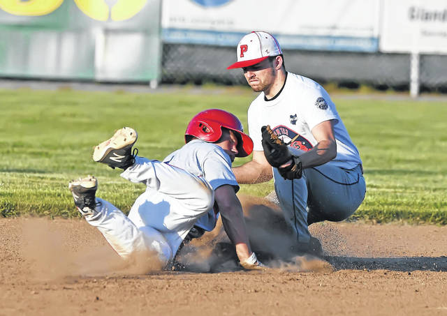 Van Wert's TJ Reynolds safely reaches second base against Perry's Keaton Miller during Friday's Ohio Veterans 4 County Memorial All-Star Games in Ottawa.