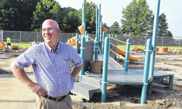 All Ability executive director Brad Perrott talks about the progress of the new All Ability Playground at Camp Robin Rogers on Wednesday.
