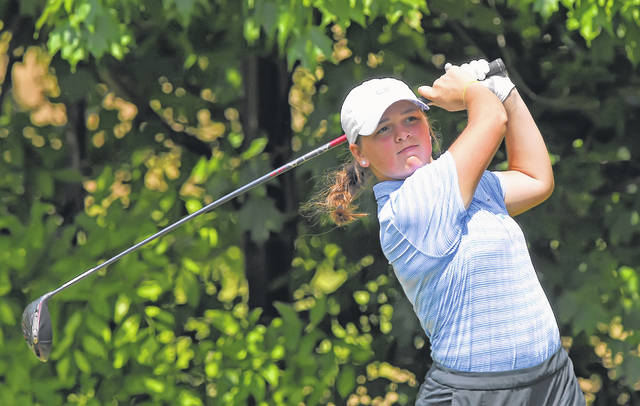 Lima Central Catholic's Mary Kelly Mulcahy watches her tee shot during Tuesday's Gray's Cappie Sportswear Open at Springbrook Golf Club.