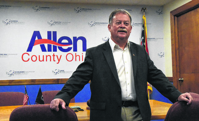 Allen County Commissioner, Greg Sneary announces his retirement Friday morning at the commissioners office in downtown Lima. Craig J. Orosz | The Lima News
