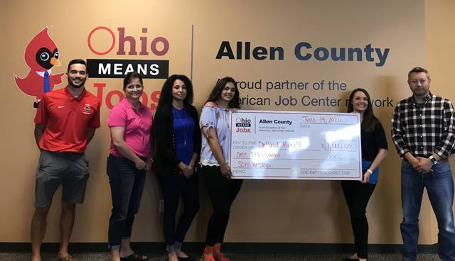 Caitland Boroff, fourth from left, was the first recipient of a new Ohio Means Jobs-Allen County scholarship designed to encourage local youth to pursue their careers in Allen County.