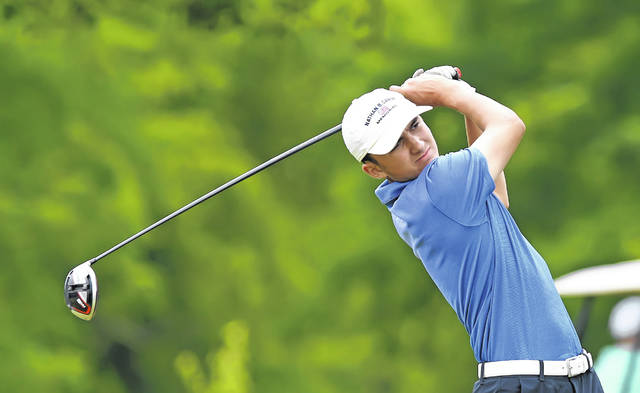 Allen East's Zach Miller watches his tee shot during Tuesday's Reineke Ford Open at Colonial Golfers Club.