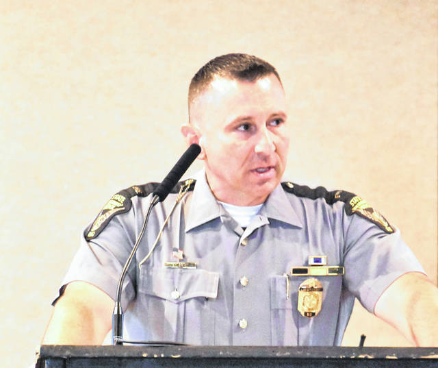 "Lt. Tim Grigsby, commander of the Lima post of the Ohio State Highway Patrol, was the guest speaker Friday at the Lima-Allen County Chamber of Commerce breakfast Friday. He said the patrol ""prides itself in our people doing the right thing, not because of politics but because it's just the right thing to do."""
