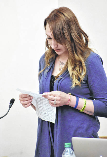 Shelly Wireman read a hand-written statement prior to being sentenced to four years on probation Thursday on two counts of child endangering.