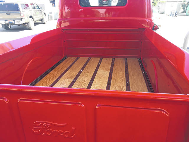 Jim Calvelage built the truck bed with wood he purchased from Siefker's Sawmill.