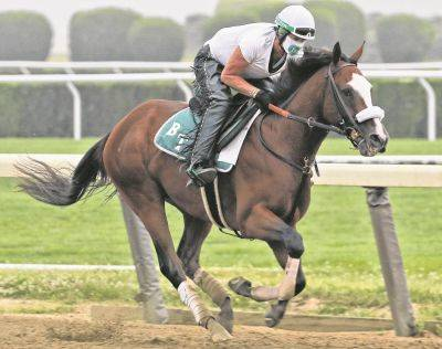 Robin Smullen rides Tiz the Law during a Friday workout at Belmont Park in Elmont, N.Y.