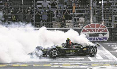 Josef Newgarden does a burnout after winning a June 2019 IndyCar race at Texas Motor Speedway in Fort Worth, Texas. IndyCar opens its pandemic-delayed season with an all-in-one-day show today on the fast high-banked 1 ½-mile oval at Texas Motor Speedway, more than eight months after the 2019 finale.