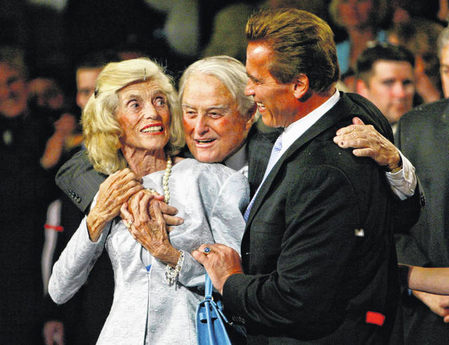 "This Oct. 7, 2003, file photo shows Republican Arnold Schwarzenegger, right, with his in-laws Eunice Kennedy-Shriver, left, and Sargent Shriver following his victory in the California gubernatorial recall election in Los Angeles. RosettaBooks announced Tuesday that it had acquired Shriver's memoir ""We Called It a War,"" which he worked on in the late 1960s and was only recently rediscovered. Shriver's friend and law partner David Birenbaum edited the manuscript, in which Shriver tells of his efforts to fulfill Johnson's vow in 1964 to end poverty."