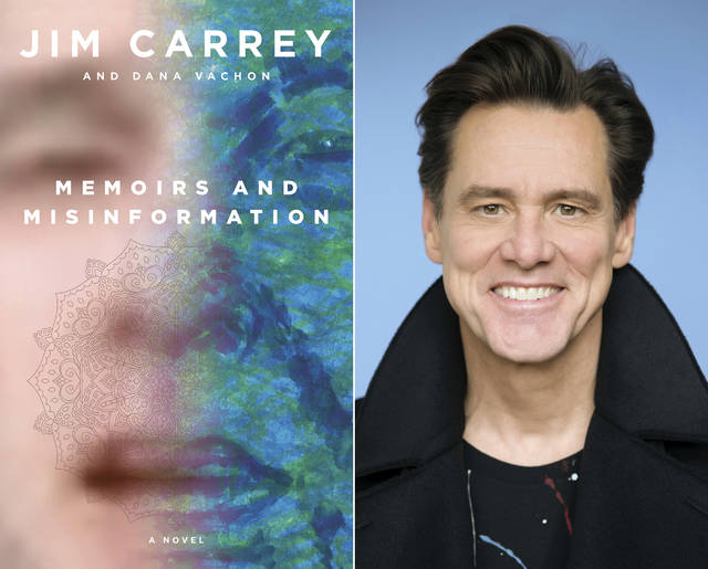 "This combination photo shows the cover of ""Memoirs and Misinformation,"" left, and a portrait of author-actor Jim Carrey. The book is the latest reinvention of the 58-year-old star of ""Ace Ventura: Pet Detective,"" ""The Mask,"" ""Eternal Sunshine of the Spotless Mind"" and ""The Truman Show."" After veering into painting and political cartoons, it's Carrey's debut novel."