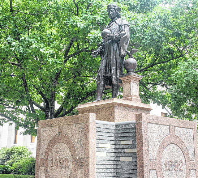 The process to remove this statue of Christopher Columbus, shown Thursday, July 16, 2020, outside the Ohio Statehouse will take at least five years as the agency that oversees the capital grounds voted to implement a process to review proposals for removal Thursday.