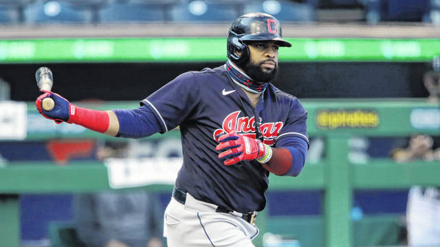 Cleveland Indians' Carlos Santana bats during an exhibition baseball game against the Pittsburgh Pirates in Pittsburgh, Saturday. Last year he ranked sixth in the league in runs (110).