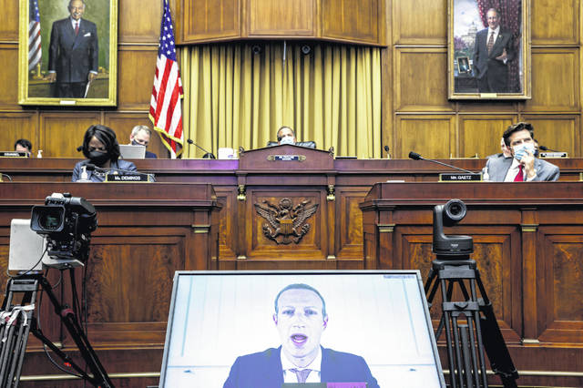 Facebook CEO Mark Zuckerberg speaks via video conference during a House Judiciary subcommittee hearing on antitrust on Capitol Hill on Wednesday, July 29, 2020, in Washington.