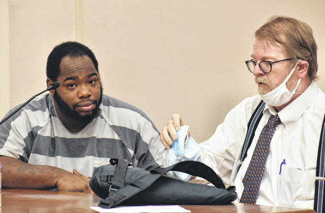Cameron Rogers, 29, of Lima, appeared in Allen County Common Pleas Court on Tuesday for a motion seeking to suppress statements made to police following his arrest. In his motion, attorney Steve Chamberlain, right, said his client's Fifth, Sixth and Fourteenth Amendment rights were violated by police.