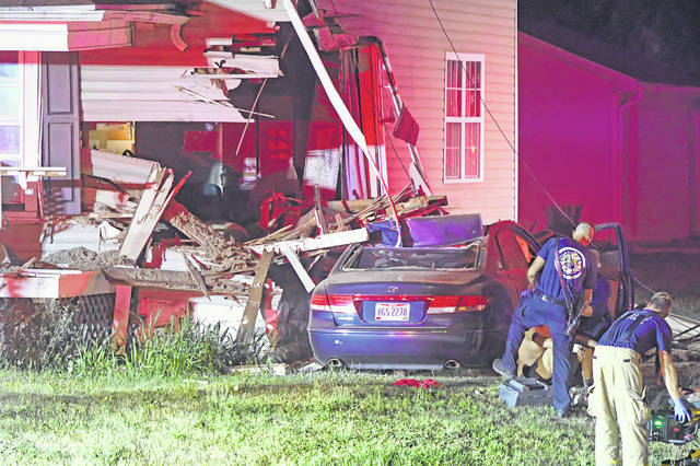 Lima Fire and Police Department were at the scene of a crash at 725 N. Collett St. Saturday morning.