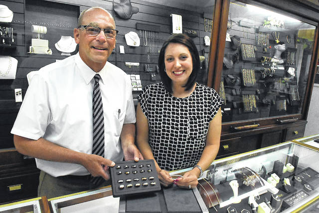 Scott Koenig and Amber Cunningham of Don Jenkins Jeweler in downtown Lima.