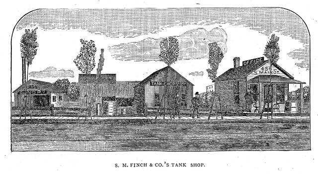 The Finch tank shop, illustrated in 1889.
