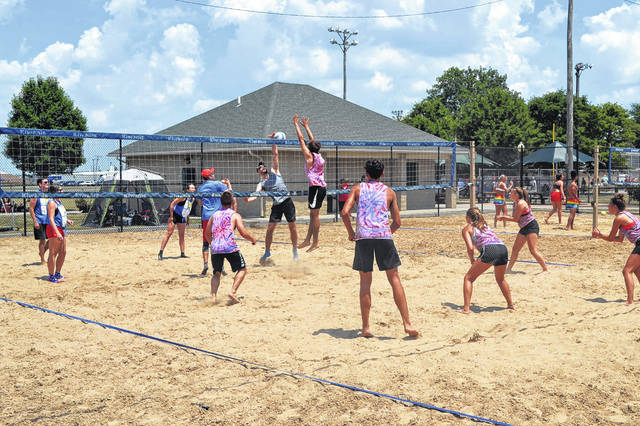 A beach volleyball tournament was held at Stadium Park in Delphos Saturday.