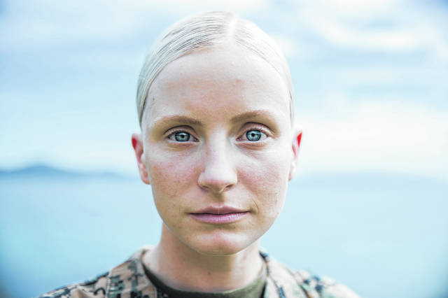 U.S. Marine Cpl. Veronika R. Gottschalk, an intelligence specialist with 3rd Marine Division poses for a photo at Camp Courtney, Okinawa, Japan, June 3, 2020. Gottschalk shared her story of becoming a Marine after being adopted from Russia at the age of 6.
