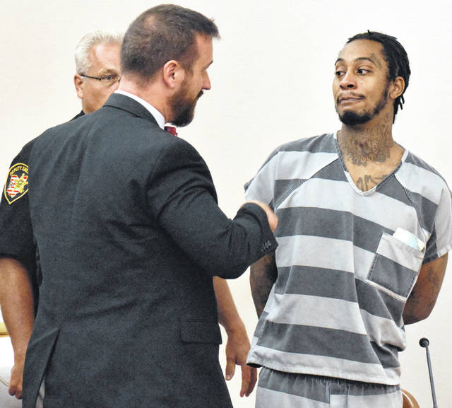 Raylon Hardy, 30, of Lima, was led from an Allen County courtroom on Thursday to begin serving a 24-year prison sentence for shooting a pair of men who were sitting on a front porch last November.