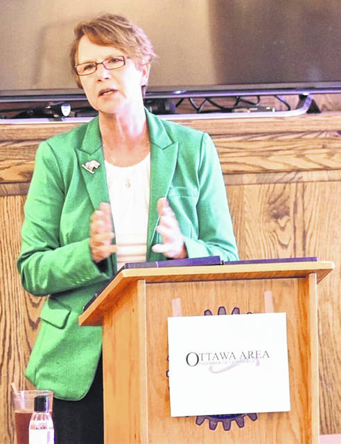Sharon Kenney, an associate justice on the Ohio Supreme Court, spoke at two events in Putnam County on Tuesday. At noon she addressed a luncheon crowd at a meeting held by the Ottawa Chamber of Commerce. She was joined later in the evening at the Ottawa YMCA for a public meeting hosted by the Putnam County Republican Women's Club.