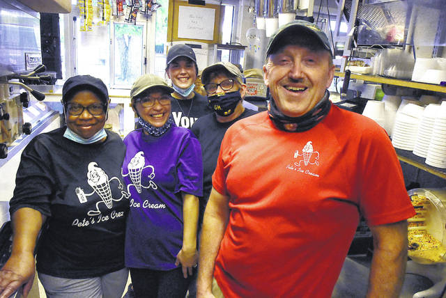 Peter's Ice Cream Owner Dave Peters, right, with his staff.