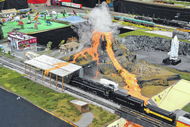 This elaborate model train display even included a volcano.