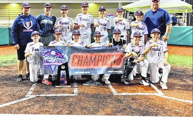The Vandel Cruisers 12U team recently went 8-0 to win the USSSA AA World Series at Grand Park in Westfield, Indiana. Team members include, from left, front row, Griffin McCracken (Van Wert), Andrew Elwer (Delphos), Cam Werts (Van Wert), Tyce McClain (Van Wert), Drake Fittro (Delphos), Andrew Wiss (Minster) Finley Dickinson (Van Wert), back row, Coach Nolan Mericle, Coach Ty McClain, Cameron Elwer (Delphos), Mack Hieber (Patrick Henry), Evan Martz (Delphos), Maddox Kroeger (Delphos), Griffin Mericle (Delphos) and Coach Mike Wiss.