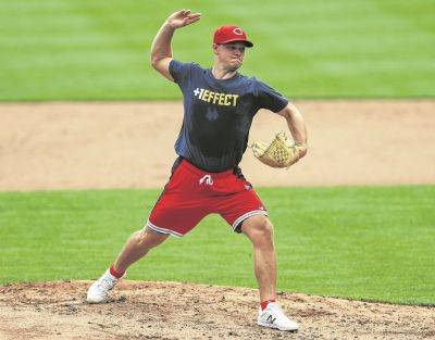 The Reds' Sonny Gray participates in Wednesday practice at Great American Ballpark in Cincinnati.