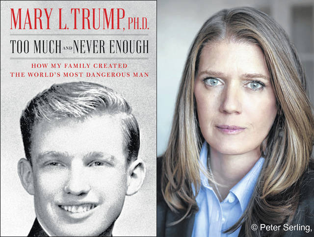 """Mary L. Trump, the niece of President Donald J. Trump, is shown with her book, """"Too Much and Never Enough: How My Family Created the World's Most Dangerous Man."""""""