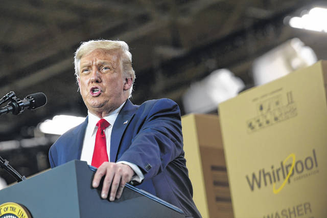President Donald Trump speaks during an event at the Whirlpool Corporation facility in Clyde on Thursday. Trump was in Ohio to promote the economic prosperity that much of the nation enjoyed before the coronavirus pandemic and try to make the case that he is best suited to rebuild a crippled economy.