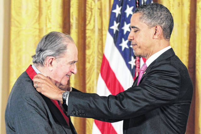 """Former President Barack Obama presents a National Humanities Medal to historian Bernard Bailyn on March 2, 2011, during a ceremony in the East Room of the White House in Washington. Bailyn, one of the country's leading historians of the early U.S., has died at age 97. Bailyn was best known for his Pulitzer Prize-winning """"The Ideological Origins of the American Revolution,"""" among the most influential historical works of the past few decades."""