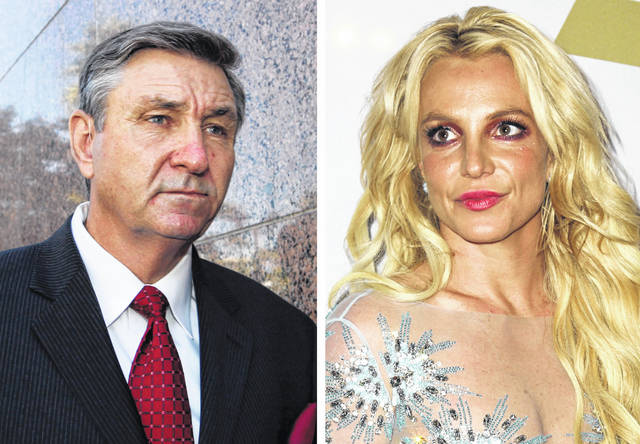This combination photo shows James Spears, left, father of Britney Spears, as he leaves the Stanley Mosk Courthouse on Oct. 24, 2012, in Los Angeles and Britney Spears at the Clive Davis and The Recording Academy Pre-Grammy Gala on Feb. 11, 2017, in Beverly Hills, Calif.. Britney Spears is asking a court to curb her father's control over her life and career. In documents filed Tuesday, Spears asked that her father not return to the role of conservator of her person, which gave him power over her life decisions from 2008 until 2019, when he temporarily stepped aside.