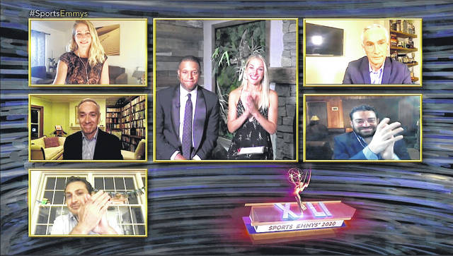 This image released by National Academy of Television Arts & Sciences shows presenters Craig Melvin and Lindsay Czarniak, center, and nominees for outstanding sports journalism, clockwise from top left, Nicole Noren, Jorge Ramos, Josh Fine, Jake Rosenwasser and Greg Amante during the 41st Sports Emmy Awards Ceremony, honoring TV's best sports coverage. A similar show can be expected for the Emmys as they go virtual this year.