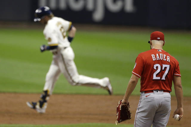 Cincinnati Reds' Trevor Bauer (27) walks back to the mound after giving up a two-run home run to Milwaukee Brewers' Justin Smoak (12) during the third inning of a baseball game Monday, Aug. 24, 2020, in Milwaukee. (AP Photo/Aaron Gash)