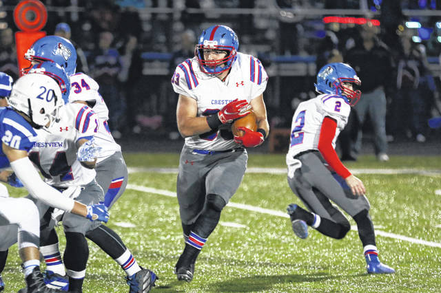 Crestview's Brody Brecht returns as the Knights main threat after leading the NWC is rushing with 1,556 yards and 18 touchdowns.