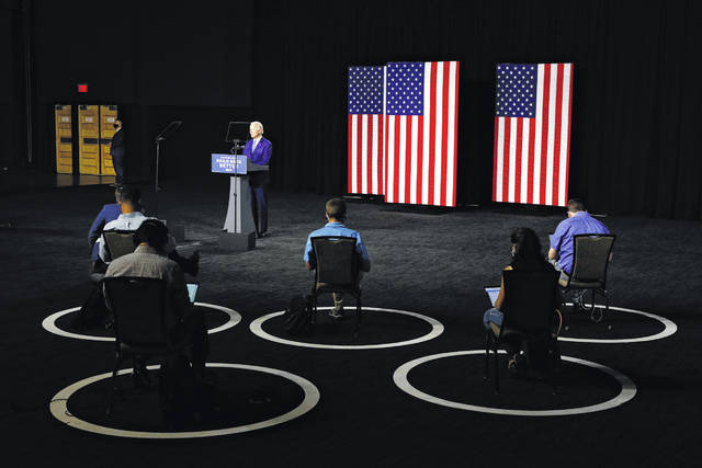 FILE - In this July 14, 2020, file photo Democratic presidential candidate, former Vice President Joe Biden speaks during a campaign event in Wilmington, Del. (AP Photo/Patrick Semansky, File)