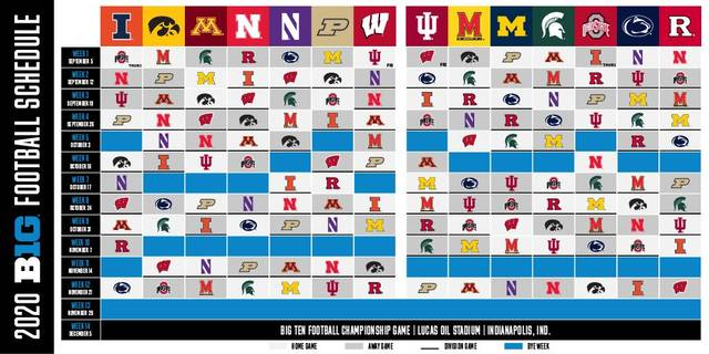 The Big Ten released an updated schedule for the fall 2020 season.