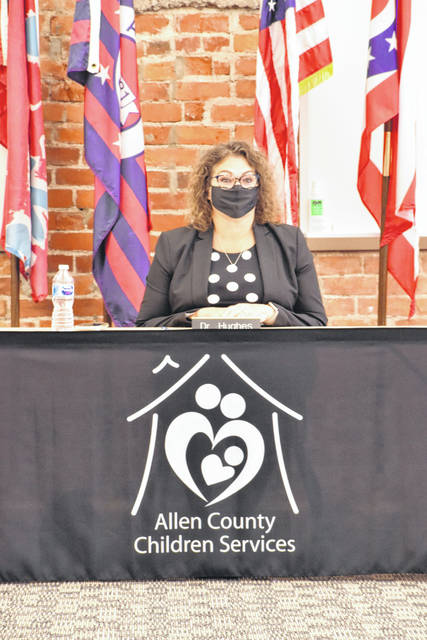 Dr. Jennifer Hughes, chair of the board of directors of the Allen County Children's Services, conducted the meeting Friday that led to the termination of former agency Executive Director Cynthia Scanland and the resignation of two program administrators.