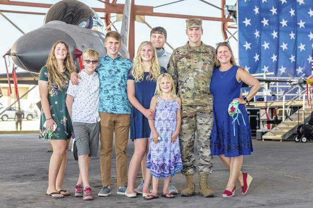 The Air Force has provided an exciting life for Colonel Dominic Clementz and his wife Melissa. They are shown with their six children, from left: Grace, Brendan, Spencer, Julia, Luke, Natalie, Dominic and Melissa.