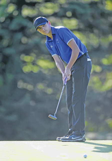 Allen East's Zach Miller putts on the 18th hole during Thursday's Rob Contini Memorial Lima City Invitational at Colonial Golfers Club in Harrod.